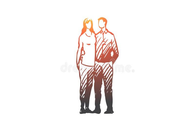 Семья, жена, супруг, пара, совместно концепция r бесплатная иллюстрация