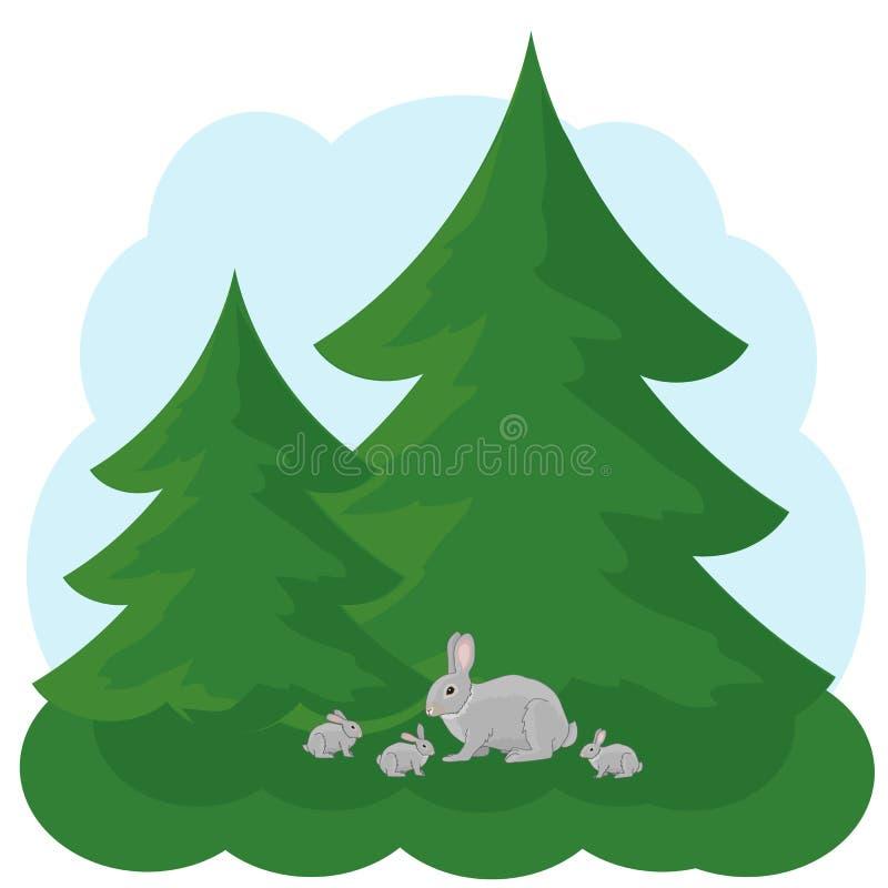 Семья зайцев сидит под елями Лес иллюстрация штока