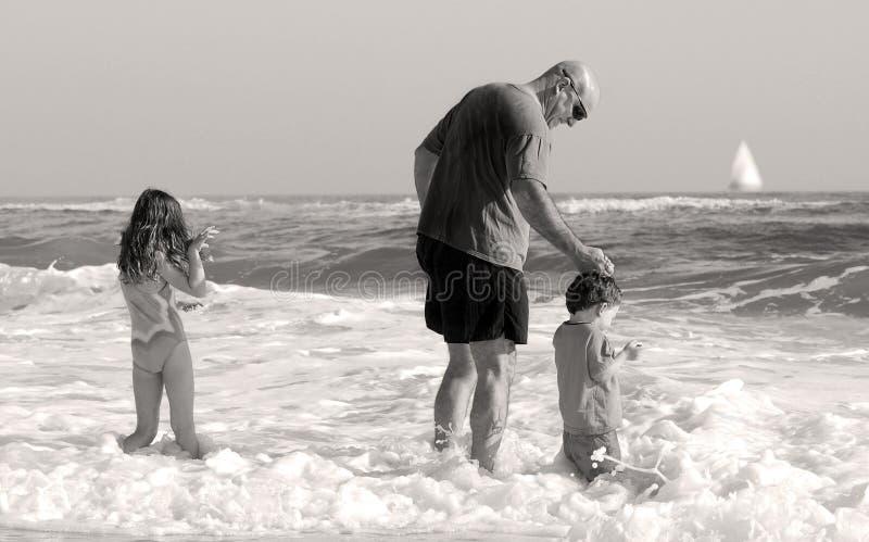 семья играя seashore стоковое фото rf