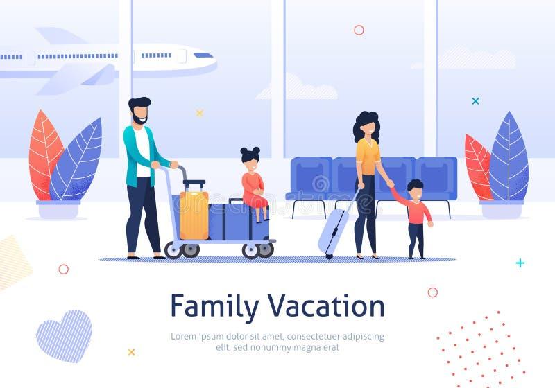 Семья идя на каникулы в крупном аэропорте иллюстрация вектора