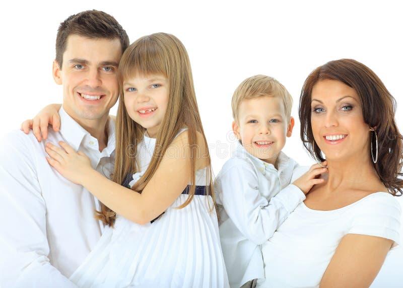 Семья изолированная на белизне стоковые фотографии rf
