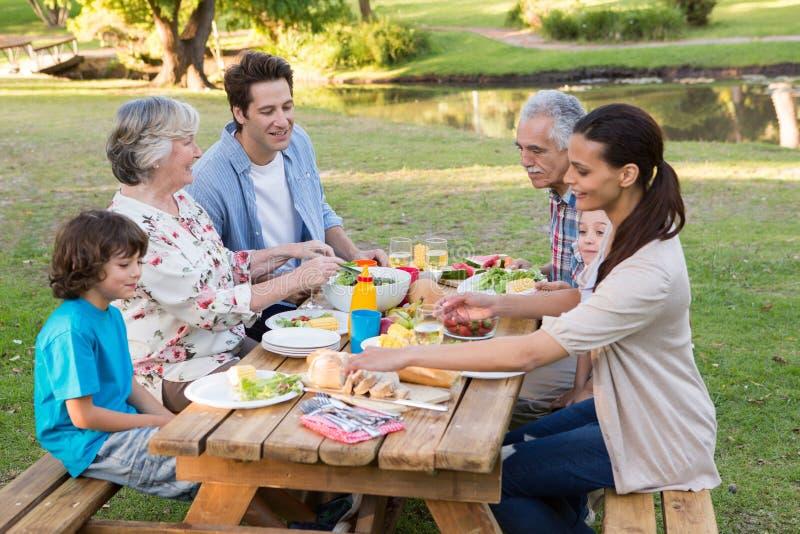 Семья из нескольких поколений имея внешний обед стоковая фотография