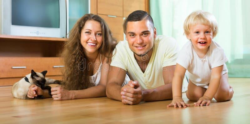 Семья из четырех человек играя с котенком стоковые фотографии rf