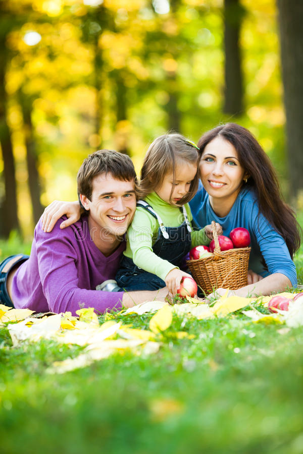 семья имея пикник стоковое фото