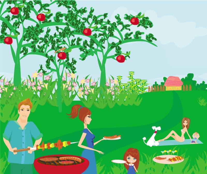 Семья имея пикник бесплатная иллюстрация