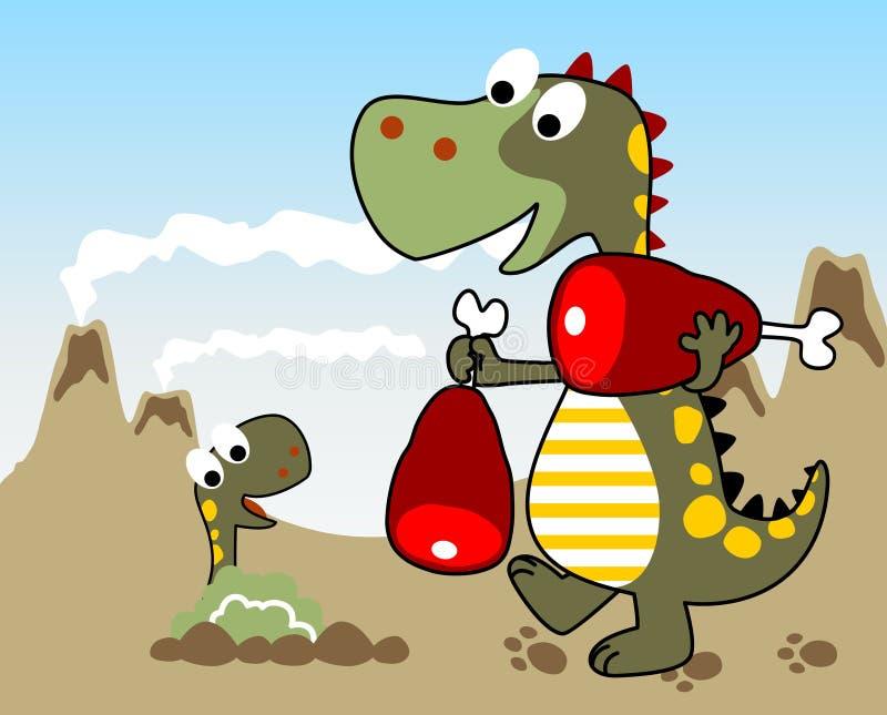 семья динозавров персонажей из мультфильма смешная иллюстрация вектора