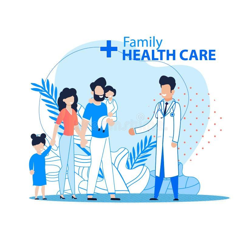 Семья и знамя здравоохранения плоское рекламируя иллюстрация штока