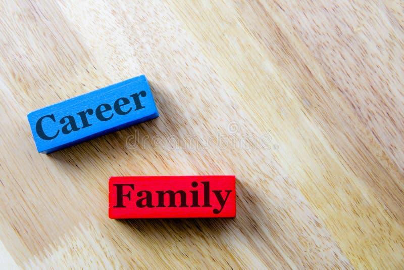 Семья и концепция слова карьеры Семья стоковая фотография