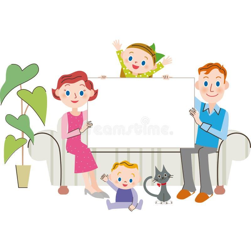 семья и доска для сообщений бесплатная иллюстрация