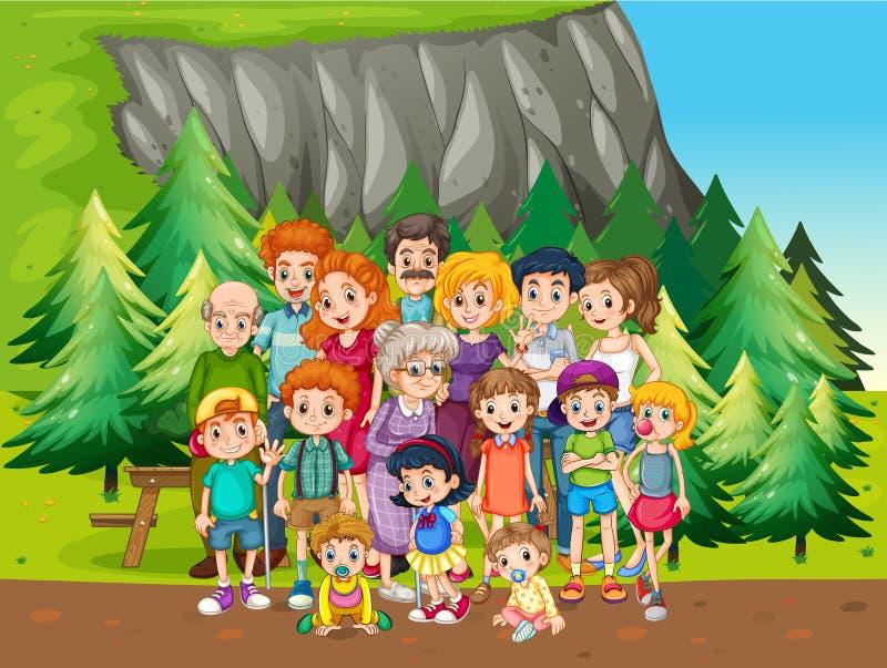 Семья и парк иллюстрация вектора