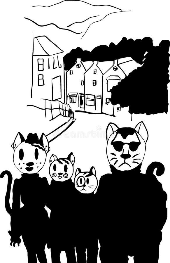 Семья кота в городе стоковая фотография rf