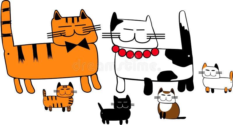 Download Семья кота иллюстрация вектора. иллюстрации насчитывающей приятельство - 33738415