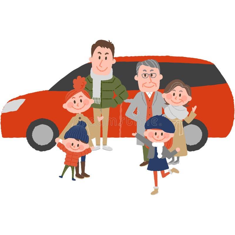 Семья, который будет идти вне автомобиль иллюстрация штока