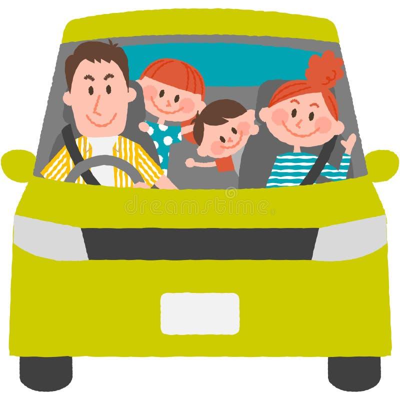 Семья, который будет идти вне автомобиль иллюстрация вектора