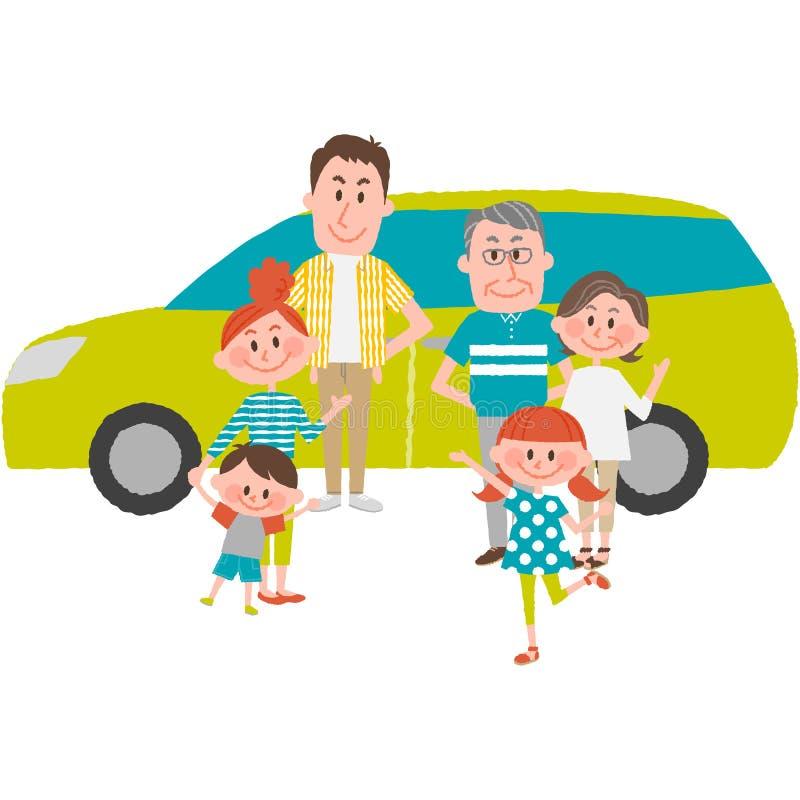 Семья, который будет идти вне автомобиль бесплатная иллюстрация