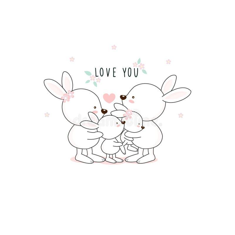 Семья кролика прекрасного мультфильма белая Мама папы и мультфильм кролика младенца иллюстрация вектора