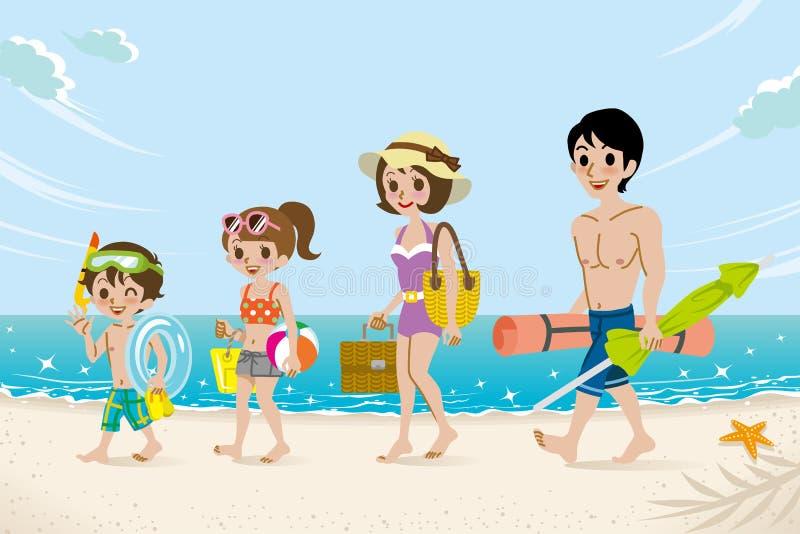 Семья купальников в пляже иллюстрация штока