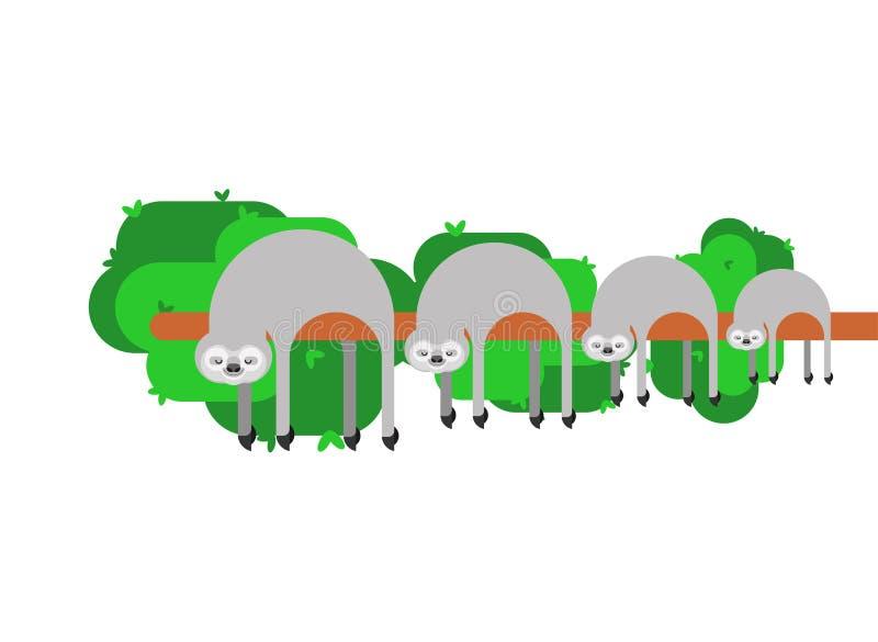 Семья лени мультфильм lazybones животный также вектор иллюстрации притяжки corel бесплатная иллюстрация