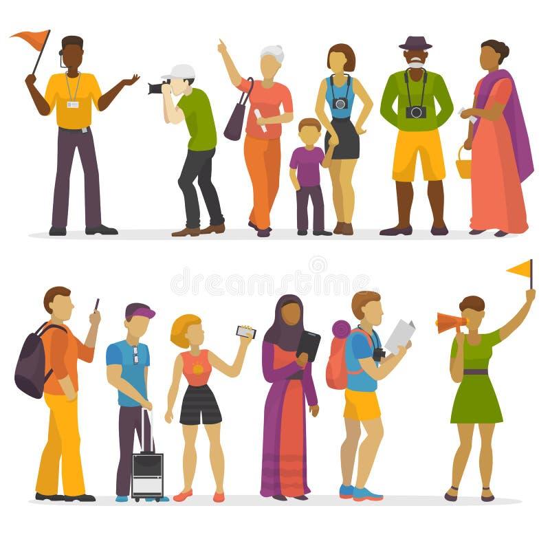 Семья людей путешествуя на парах путешествием отключения характеров путешественника каникул счастливых vector иллюстрация иллюстрация штока
