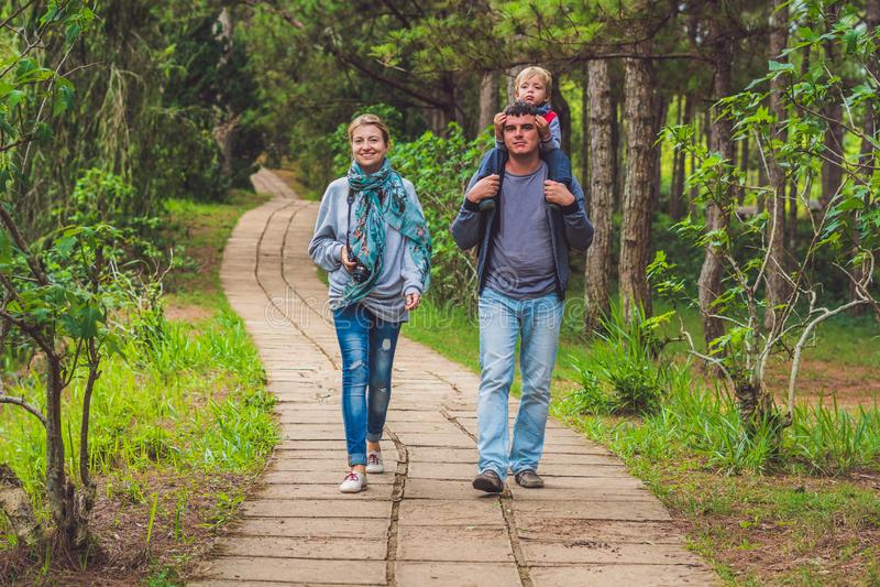 Семья, мать, отец и сын, идя путь парка стоковые изображения