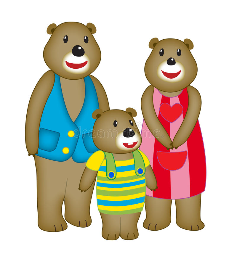 Семья медведя шаржа иллюстрация штока