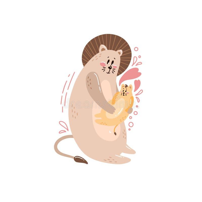 Семья милой открытки счастливая с изображением льва иллюстрация штока