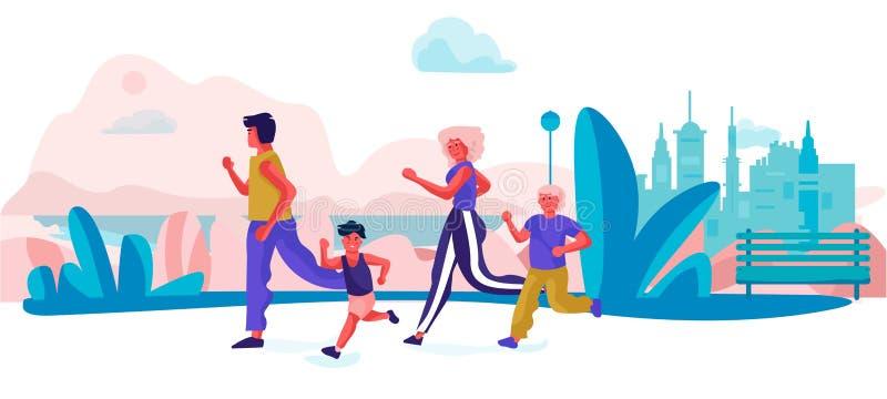 Семья мультфильма бежать в парке Родители и дети делая тренировки резвятся деятельность на праздниках Семья вектора счастливая иллюстрация вектора
