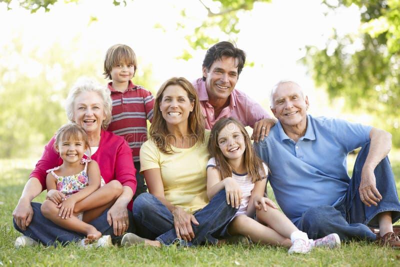 семья Мульти-поколения в парке стоковое изображение rf