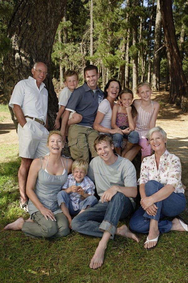 Семья наслаждаясь каникулами около леса стоковые фотографии rf