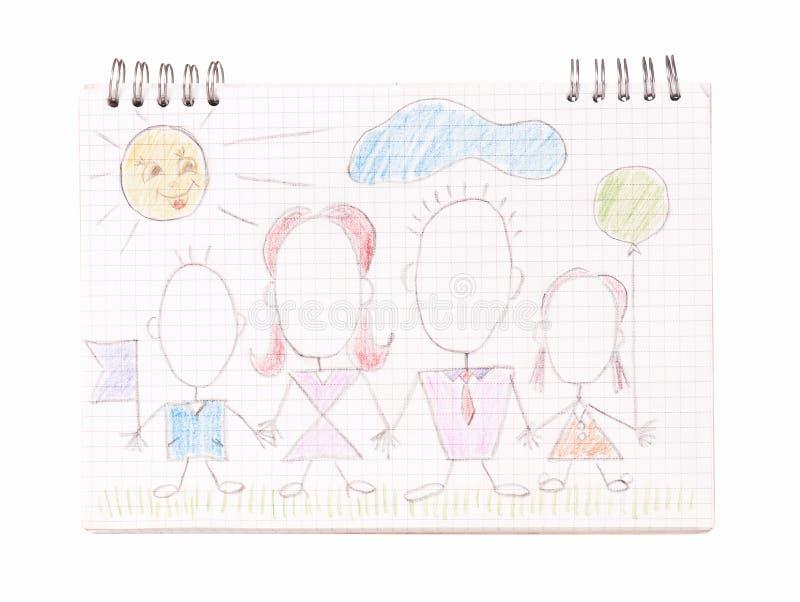 Семья на листе тетради стоковые фотографии rf