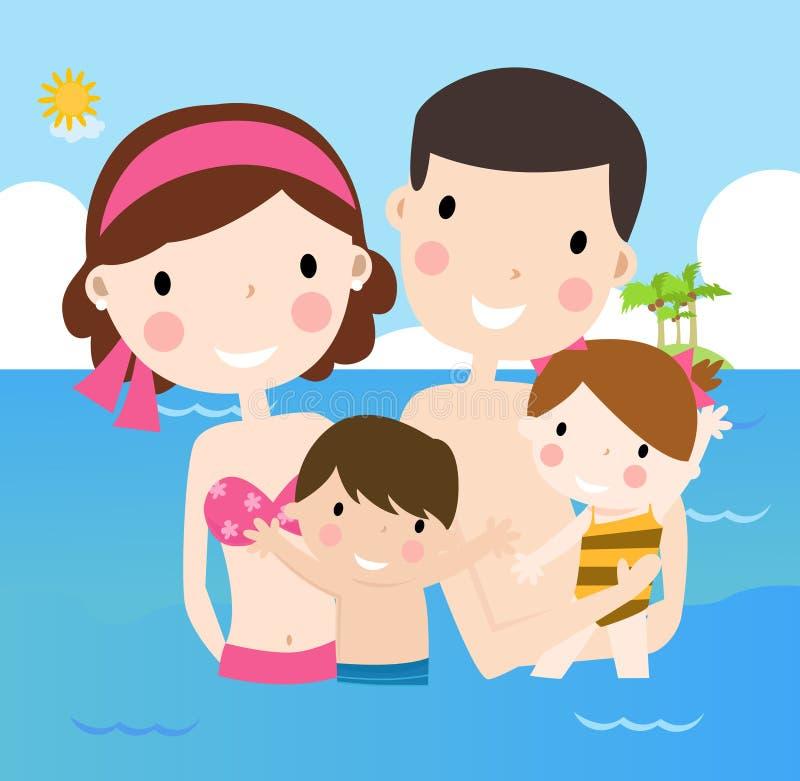 Семья на каникулах иллюстрация штока