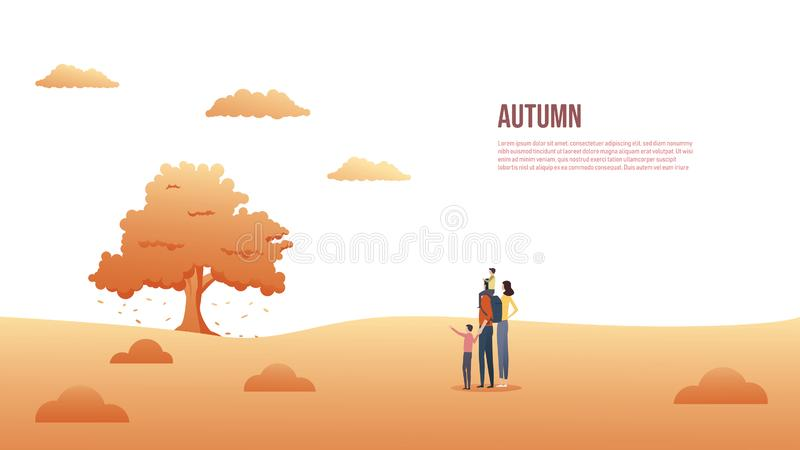 Семья на отключении или идти outdoors во время падения или осени, предпосылки вектора Сезонные знамя или заголовок вебсайта со сч иллюстрация штока