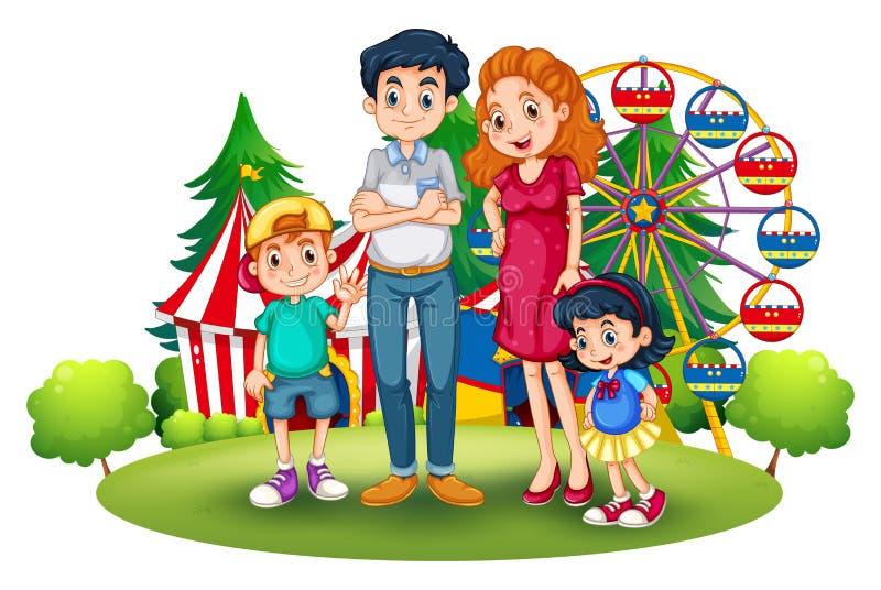 Семья на парке атракционов иллюстрация штока