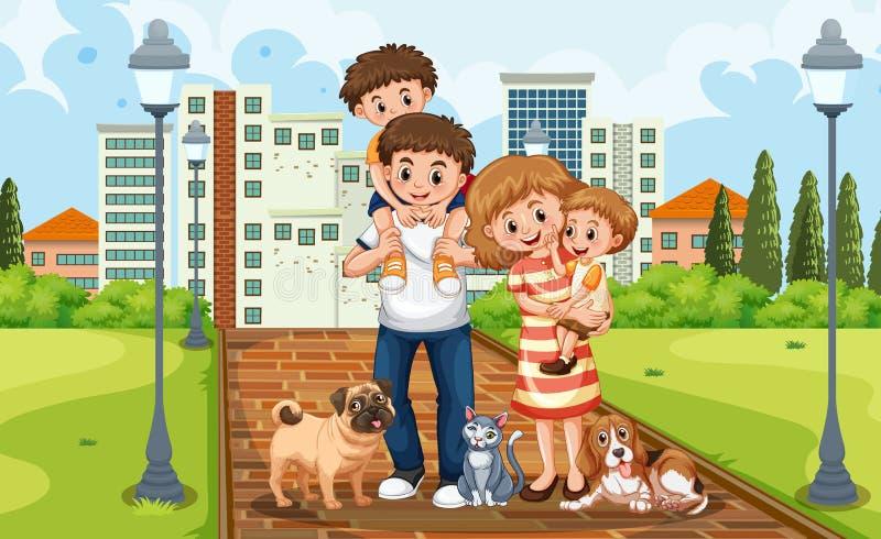 Семья на парке иллюстрация вектора