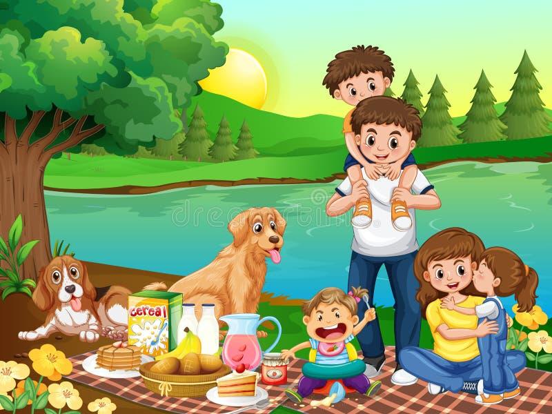 Семья на парке иллюстрация штока