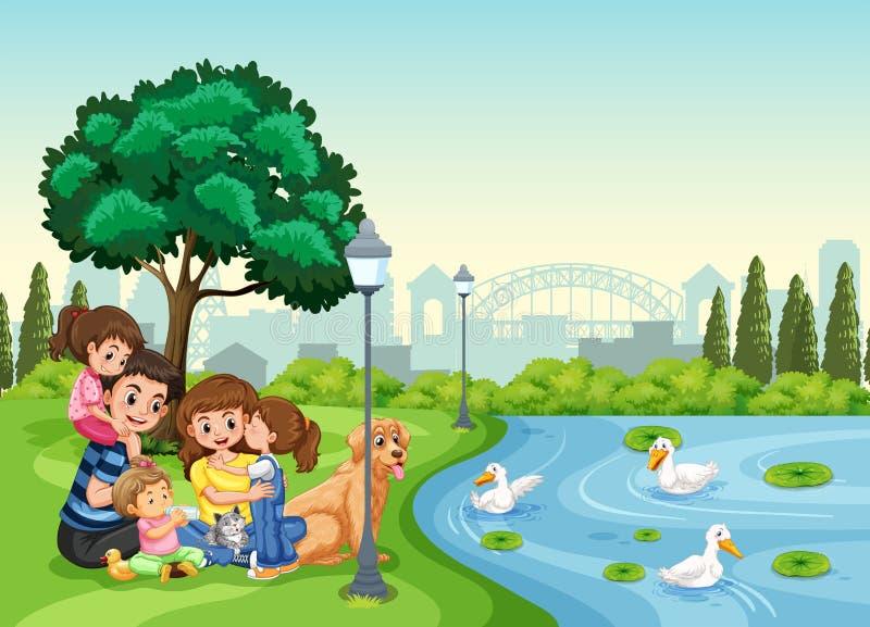 Семья на парке бесплатная иллюстрация
