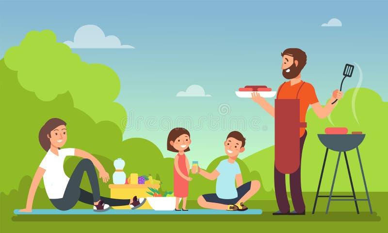Семья на пикнике лета Люди в партии bbq есть еду Концепция вектора гриля и барбекю внешняя иллюстрация штока