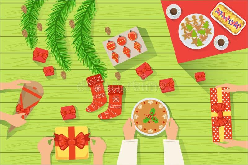Семья на традиционно, который служат взгляде таблицы рождества сверху бесплатная иллюстрация