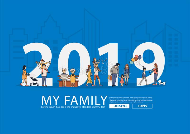 семья 2019 Новых Годов счастливая имея concep идеи уклада жизни потехи бесплатная иллюстрация