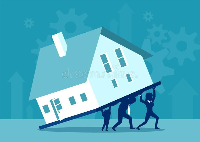 Семья нося тяжелую ипотечную задолженность бесплатная иллюстрация