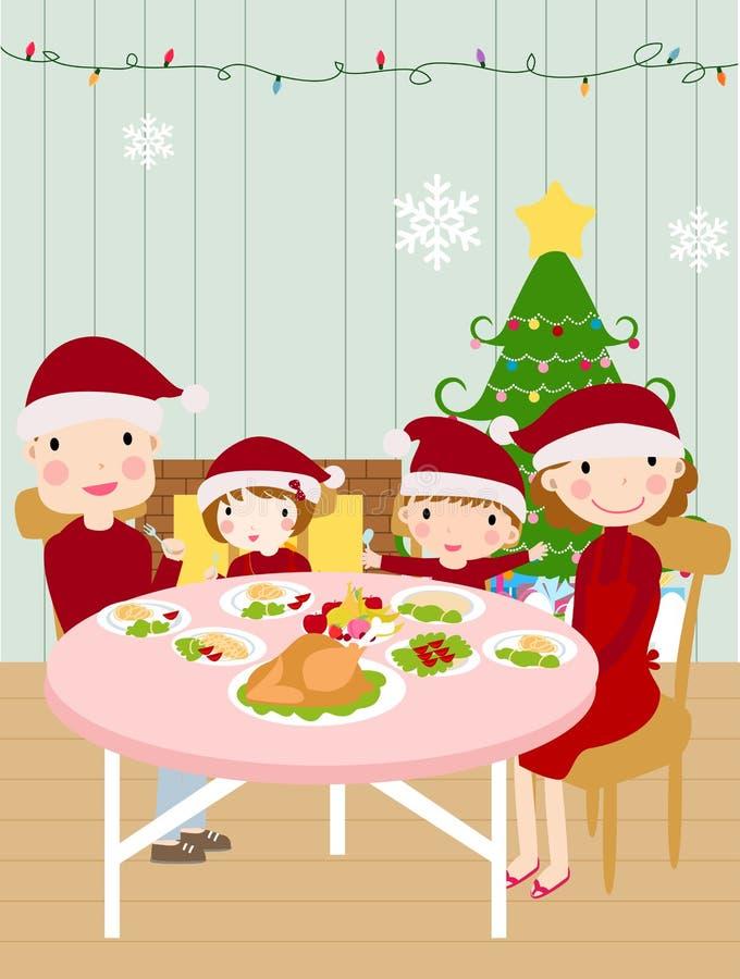 семья обеда рождества иллюстрация штока