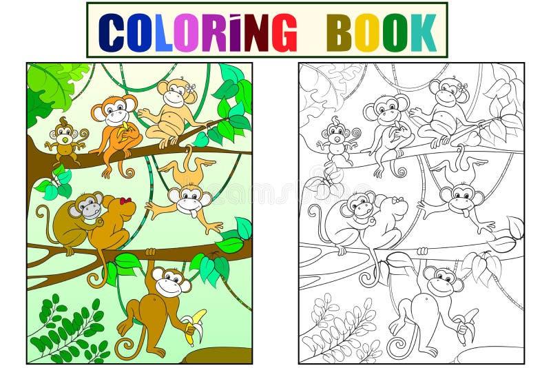Семья обезьян на книге цвета дерева для вектора шаржа детей Красить, черно-белый иллюстрация штока