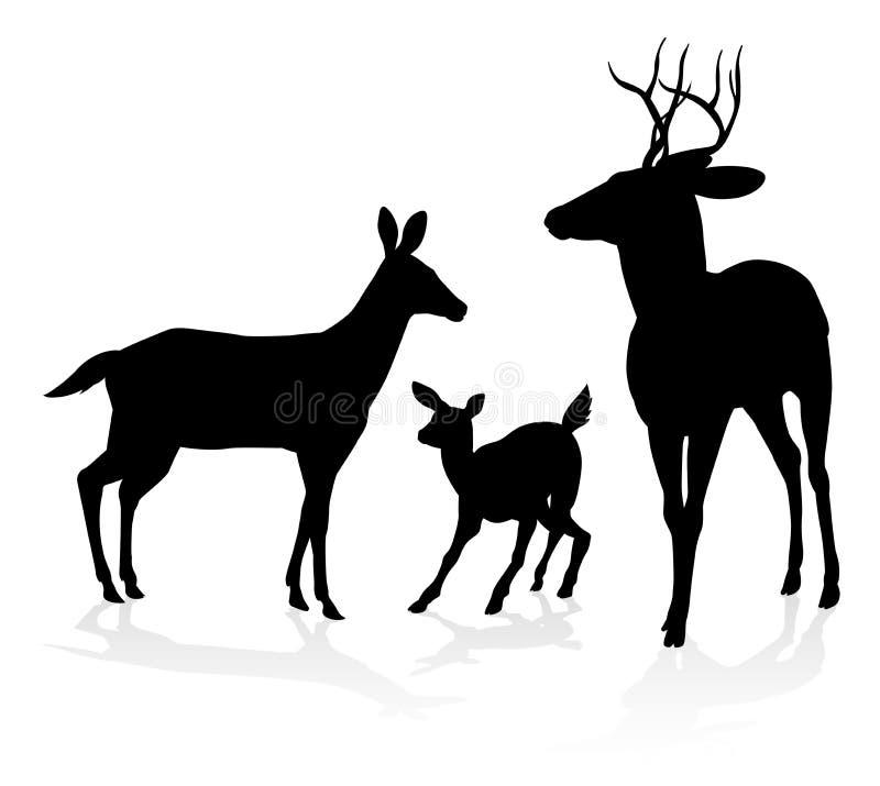 Семья оленей силуэта иллюстрация вектора