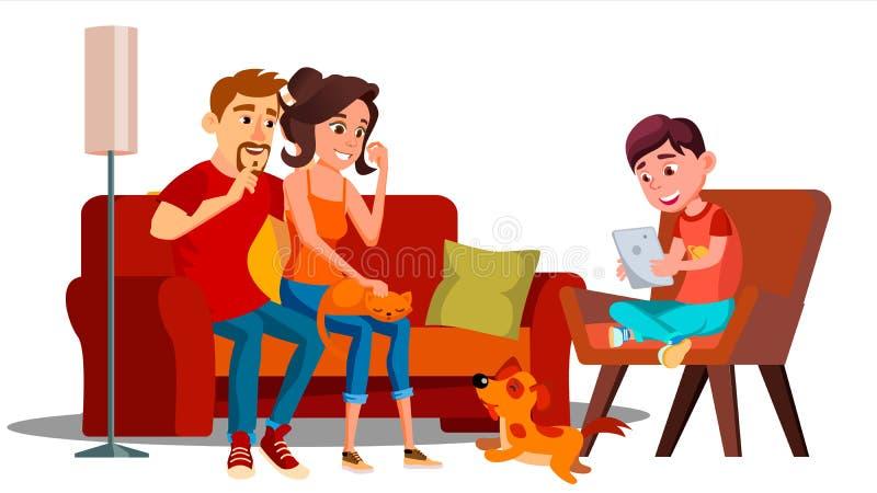 Семья ослабляя дома совместно вектор изолированная иллюстрация руки кнопки нажимающ женщину старта s бесплатная иллюстрация