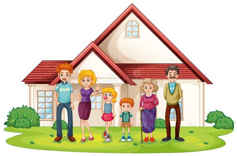 Семья перед их большим домом иллюстрация штока