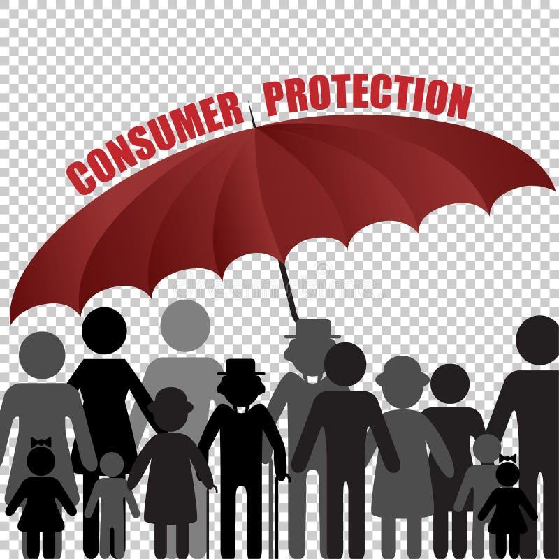 Семья под зонтиком, концепция потребителя Peple страхования клиента также вектор иллюстрации притяжки corel иллюстрация вектора