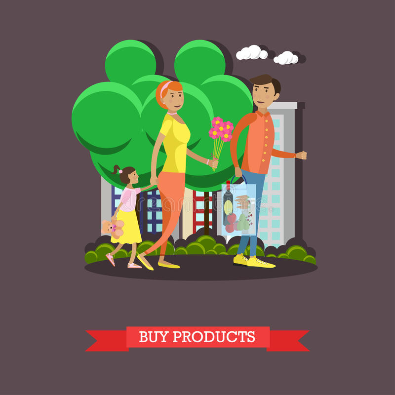 Семья приходя назад от покупок в гастрономе Пары при ребенк идя в парк города иллюстрация вектора