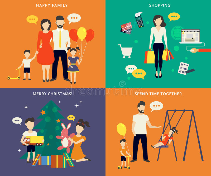 Семья при установленные значки концепции детей плоские иллюстрация штока
