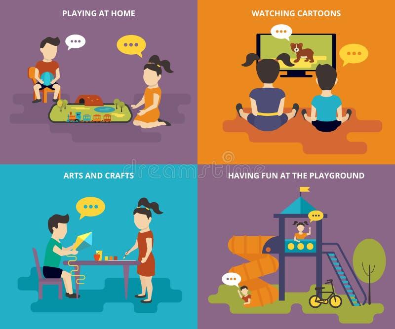 Семья при установленные значки концепции плоские бесплатная иллюстрация