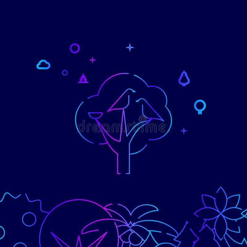 Семья птицы с гнездом на линии значке вектора дерева, иллюстрации на темно-синей предпосылке Родственная нижняя граница иллюстрация вектора